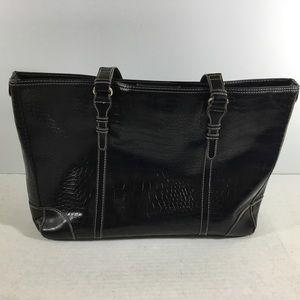 Handbags - Croco Print Extra Large Tote Bag Career School